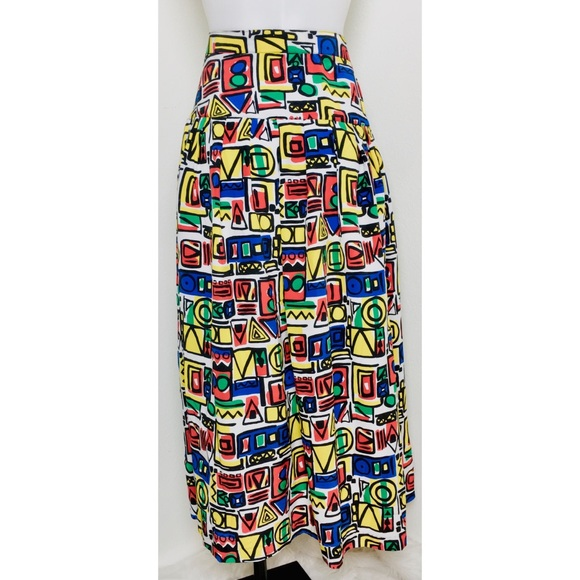 f49b3ae6e4 Diane Von Furstenberg Skirts | Dvf Vintage Colorful Abstract Print ...